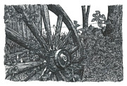 Shed Drawings - Old Wagon Wheel by Jonathan Baldock