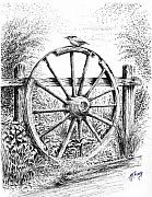Finch Drawings Prints - Old Wagon Wheel Print by Terence John Cleary