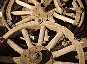 Wagon Wheels Photos - Old Wagon Wheels by Steve McKinzie