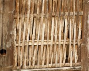 Bamboo House Photo Prints - Old Wall Made From Bamboo Slats Print by Yali Shi
