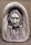 Indian Ceramics - Old Warrior In Stone by Gaylon Dingler