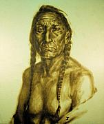 Native American Pyrography - Old Warrior by Jan Olav Forberg