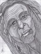 Chief Drawings Originals - Old Warrior by Richard Heyman