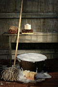 Appliance Photos - Old wash bucket with mop and brushes by Sandra Cunningham