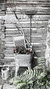 Scrub Board Posters - Old Wash Tub with Flowers and Garden tools Sketch Poster by Linda Phelps