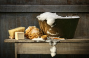 Rustic Digital Art Posters - Old wash tub with soap on bench Poster by Sandra Cunningham