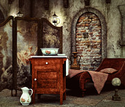 Divan Prints - Old Washstand Print by Jutta Maria Pusl