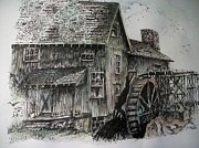 Water Flowing Drawings Posters - Old Water Mill Poster by Dick  Stanton