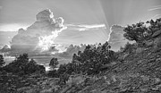 Red-rock Country Prints - Old West Sunset BW Print by Dan Turner