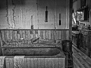 Bath Room Tapestries Textiles Posters - Old West Victorian Barber Shop Bath Poster by Daniel Hagerman