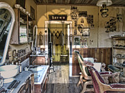 Pioneers Photo Framed Prints - Old West Victorian Barber Shop Interior - Montana Territory Framed Print by Daniel Hagerman