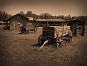 Heavy Horse Digital Art Posters - Old West Wagons Poster by Garry Staranchuk