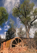 Cathedral Rock Photo Prints - Old West Water Mill 1 Print by Darcy Michaelchuk