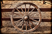Old Wooden Wagon Prints - Old West Wheel Print by Kelley King