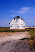 Landscape Greeting Cards Photo Prints - Old White Barn Print by Kathy Yates