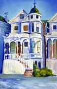 Antenna Paintings - Old White Victorian in Oakland California by Asha Carolyn Young