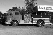 Small Towns Metal Prints - Old Whitney Seagrave Fire Engine At The Sunol Jazz Cafe In Sunol California . 7D10785 . bw Metal Print by Wingsdomain Art and Photography