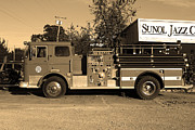 Small Towns Prints - Old Whitney Seagrave Fire Engine At The Sunol Jazz Cafe In Sunol California . 7D10785 . sepia Print by Wingsdomain Art and Photography