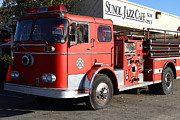 Small Towns Prints - Old Whitney Seagrave Fire Engine At The Sunol Jazz Cafe In Sunol California . 7D10787 Print by Wingsdomain Art and Photography