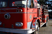 Small Towns Prints - Old Whitney Seagrave Fire Engine At The Sunol Jazz Cafe In Sunol California . 7D10791 Print by Wingsdomain Art and Photography