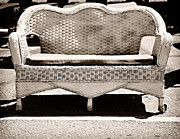 Cushion Metal Prints - Old Wicker Loveseat Metal Print by Marilyn Hunt