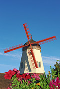 Old Mills Prints - Old Windmill in Solvang California Print by Paul Topp