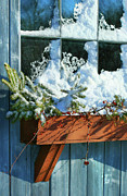 Branch Art - Old window in winter by Sandra Cunningham