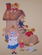 Nursery Rhyme Paintings - Old Woman in the Shoe by Nancy Self