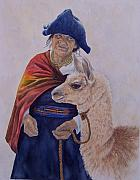 Lama Painting Framed Prints - Old Woman Of Ecuador Framed Print by Cherry Woodbury