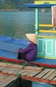 Elderly Female Framed Prints - Old Woman on a Colorful River Boat Framed Print by Bill Bachmann - Printscapes