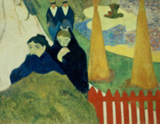 Arles Painting Framed Prints - Old Women of Arles Framed Print by Paul Gauguin