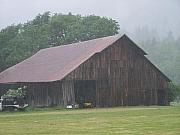 Barn Pyrography Prints - Old Wood Barn In The Mist Washington State Print by Laurie Kidd