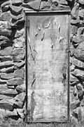 Window Art On Canvas Posters - Old Wood Door  and Stone - Vertical BW Poster by James Bo Insogna