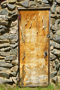 Rocky Mountains Greeting Cards Prints - Old Wood Door and Stone - Vertical  Print by James Bo Insogna