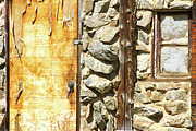 Rocky Mountains Greeting Cards Prints - Old Wood Door Window and Stone Print by James Bo Insogna
