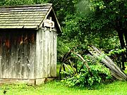 Vintage Wagon Posters - Old Wood Shed Poster by Scott Hovind