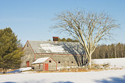 New England Snow Scene Metal Prints - Old Wood Shingled Barn In Winter Maine Metal Print by Keith Webber Jr