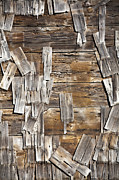 Repaired Photo Prints - Old Wood Shingles on Building, Mendocino, California, CA Print by Paul Edmondson