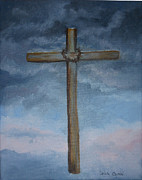 Storms Painting Originals - Old Wooden Cross by Linda Ginn