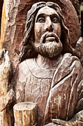 Redeemer Framed Prints - Old Wooden Jesus Sculpture Framed Print by Anuwat Ratsamerat