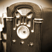 White  Digital Art Posters - Old Wooden Radio Poster by Mike McGlothlen