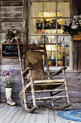 Consumerism Posters - Old Wooden Rocking Chair on a Wooden Porch Poster by Jeremy Woodhouse