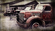 Rusty Truck Prints - Old Work Trucks Print by Perry Webster