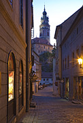 Cesky Krumlov Framed Prints - Old World Alley and Castle Framed Print by David Buffington