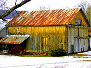 Tin Roof Posters - Old Yellow Barn Poster by Sherry Dulaney