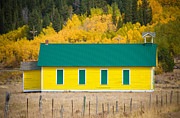 Colorado Western Gallery Prints - Old Yellow School House with Autumn Colors Print by James Bo Insogna