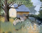 Shed Painting Posters - Old Yellow Shed Poster by Emily Michaud