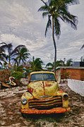 Old Trucks Art - Old yellow truck Florida by Garry Gay