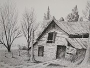 Old Barns Drawings Posters - Olde barn with truck Poster by Chris Shepherd