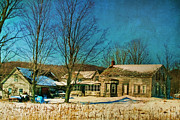 Winter Scene Metal Prints - Olde Time Rural Vermont Metal Print by Deborah Benoit